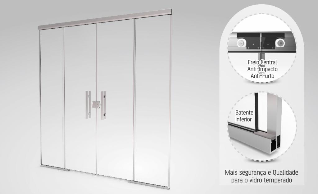 Porta de correr em vidro temperado com 4 folhas blinglass for Porta 4 folhas de vidro temperado